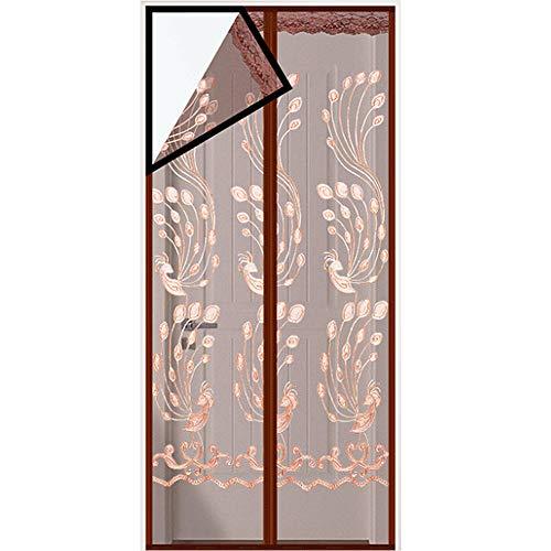 BEAUTTO Magnetische Tür Fliegengitter Tür Netz Anti Moskito Hände frei Mesh Vorhang schließt automatisch, hält frische Luft rein und Insekten draußen, Braune Feder, 80*200cm