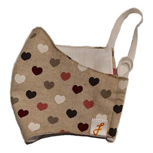 CopriMASK: copertura bocca e naso, antivento, lavabile e riutilizzabile in cotone 100%. Made in Italy. Fantasia beige con cuori