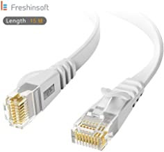 LE Freshinsoft Cat 6 Flat Ethernet Cable White with Cable Clips – Slim Long Network Internet Cable Fast Ethernet Patch Cable – with Snagless Rj45 Connectors - 65 FT White (20 Meters)