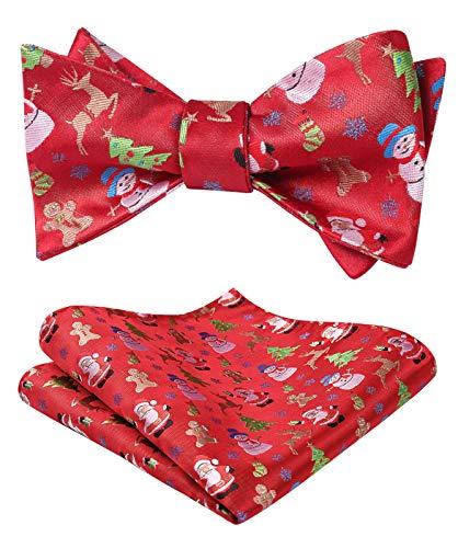 HISDERN Navidad de los hombres Muneco de nieve arbol alce Patron de santa claus Fiesta tejida Lazo del uno mismo Set de bolsillo cuadrado