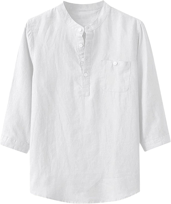 Long Sleeve Shirt Men Dry Fit,Henley Solid Blouse Work Utility Lightweight Button Down Shirt Business Wear Tops