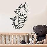 Tianpengyuanshuai Etiqueta de la Pared de Dibujos Animados Lindo Pony Cola de Sirena niños Dormitorio decoración del hogar Vinilo Ventana Pegatina 75x106cm