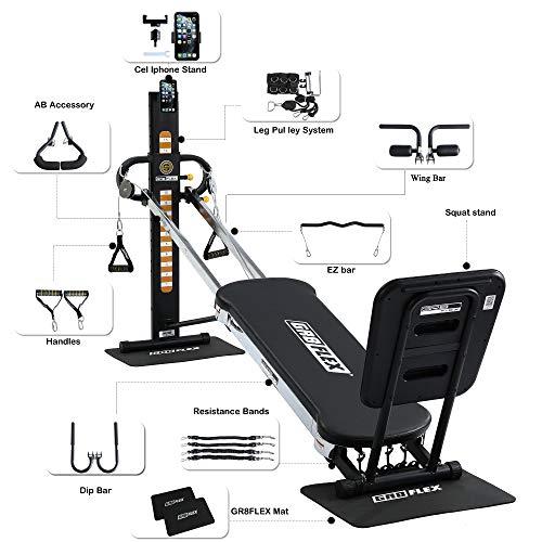 GR8FLEX High Performance Gym - Carbon Fiber Black XL Model with Total Over 100 Workout Exercises