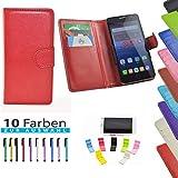 5 in 1 set ikracase Slide Hülle für Medion Life P5006 Smartphone Tasche Case Cover Schutzhülle Smartphone Etui in Rot