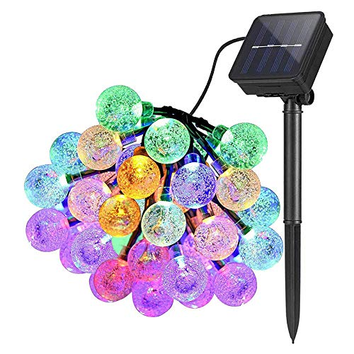 Lamker 30 LED Solar Globe Fairy Lights Multi-Coloured 8 Modes Outdoor Waterproof Crystal Ball String Light for Garden Patio Yard Wall Fence Tree Christmas Wedding Party Festival Lighting Decorative