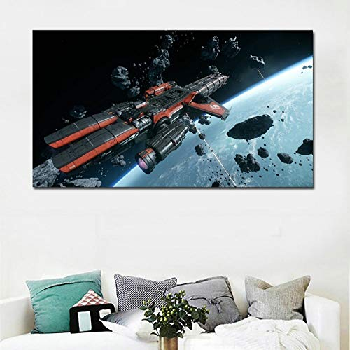 N / A Raumschiff Asteroid Raupe Landschaft Druck Ölgemälde Poster Wohnzimmer Dekoration Malerei Wandbild Rahmenlos 50x90CM