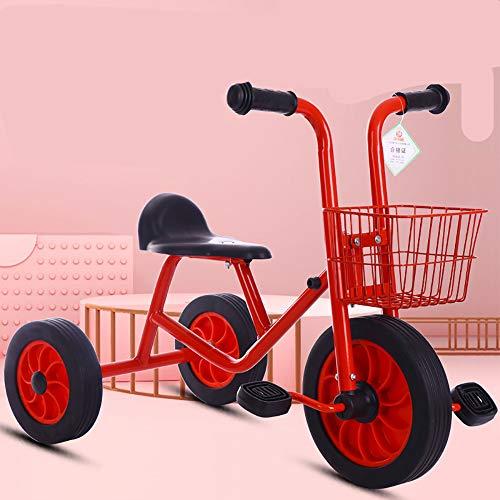 LRQHHZYQ Triciclo, Triciclo Bebe 1 año, Reposapiés Plegable-Estructura Tubular de Metal Triciclo Evolutivo 5 años, Red