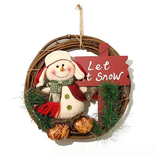 LIUS Christmas Large Solid Wood Rattan Door Wreath Hanger Cute Xmas Element Doll Door