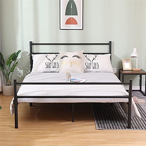 Poazmron Cama de matrimonio de metal, marco de cama no es necesario los muelles, estructura de cama con contenedor, apto para adultos, adolescentes y niñas, 200 x 140 cm, color negro