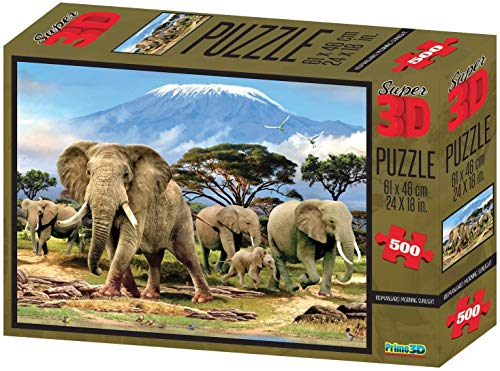 Howard Robinson Elephant Family Kilimanjaro Morning Sunlight 500 Piece 3D Jigsaw Puzzle