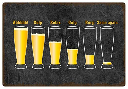 Metalen bord 30 x 20 cm bierglas de drinkfases humor metalen bord