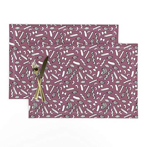 Roostery Cloth Placemats, Purple Pasta Modern Kitchen Decor Italian Rigatoni Macaroni Food Noodle Penne Crowlands Print, Linen-Cotton Canvas Placemats, Set of 2
