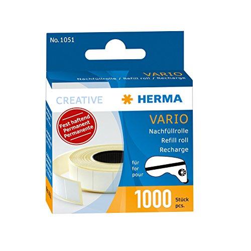 HERMA 10 x Nachfüllrolle für Vario-Klebespender fest haftend 1000 Klebestücke, 1051, weiß, 13x12mm