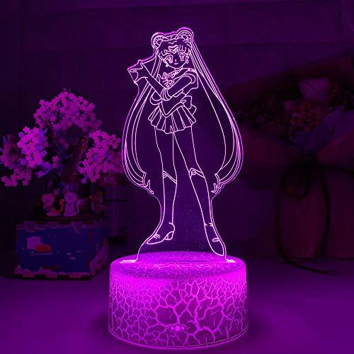 3D Nacht Lampe Illusion Lampe Sailor Moon LED Nachtlicht für Mädchen Schlafzimmer Dekor Light Touch Sensor RGB Bunte Nachtlicht Anime Charaktere LED Tischlampe ZMSY