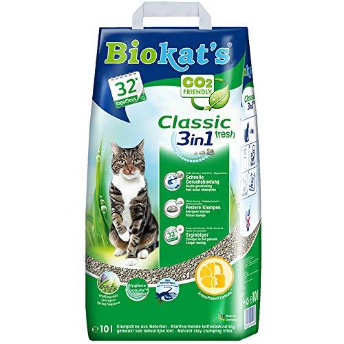 Biokat's Classic fresh 3in1 mit Frühlings-Duft - Klumpende Katzenstreu mit 3 unterschiedlichen Korngrößen - 1 Sack