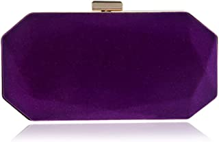 ETH Women's Velvet Banquet Bag/Evening Bag/Clutch Bag/Solid Color Bride Bag Candy Colors Shoulder Bag Permanent (Color : Purple)