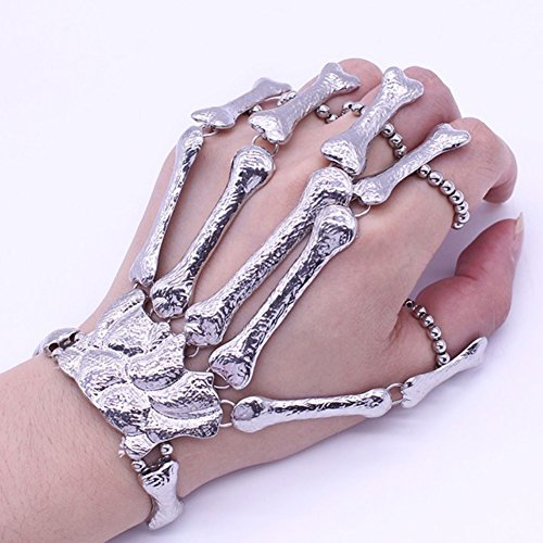 MORESAVE Punk - Anillo para Pulsera de Esqueleto de talón gótico con Hueso de Calavera, Metal, Dedos de Mano