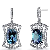 Peora Simulated Alexandrite Drop Earrings in Sterling Silver, Art Deco Dangling Design, Cushion Cut, 6.50 Carats total, Friction Backs