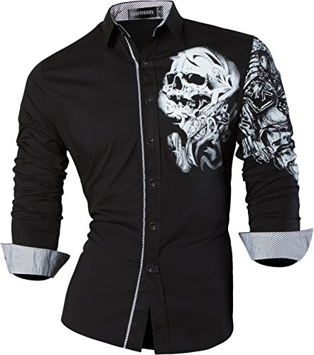 Sportrendy Herren Freizeit Hemden Slim Button Down Long Sleeves Dress Shirts Tops JZS042 Black XL