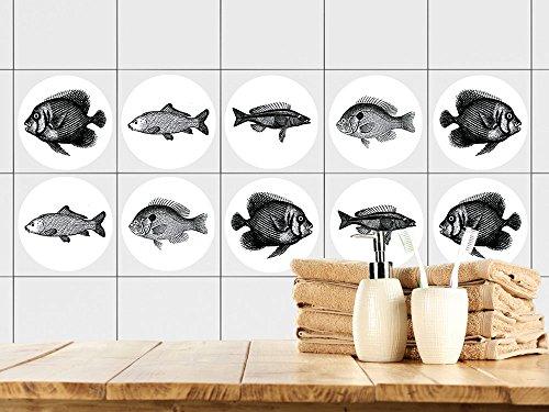 GrazDesign 770441 tegelstickers badkamer | tegelstickers met vissen | gewoon op de tegel plakken | stickerset met verschillende motieven 57x57cm