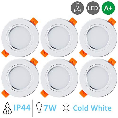 Gr4tec 6 Focos Led Empotrables Techo Blanco, 7W Downlight Plafón Luz de Techo Blanco Frío 6000K 700lm IP44 para Baño Cocina AC85-265V Transformador Incluido, Ojos de Buey Led Empotrable Pack Downlight