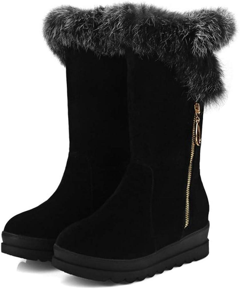 CYBLING Women's Round Toe Platform Short Boots Winter Faux Fur Side Zipper Waterproof Warm Snow Boots