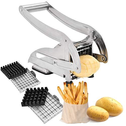 PAKASEPT Pommes-Frites Schneider und Gemüse-/Obststiftler mit Zwei Messereinsätzen und Stempel, Edelstahl-Schneideinsätze