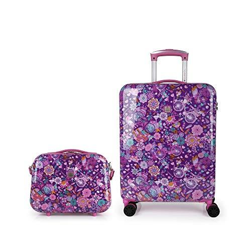 Gabol - Abril, Juego de Maletas de Viaje Rígidas de Estampado Floral con Trolley de Cabina y Neceser, Multicolor