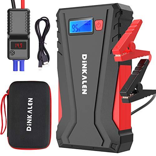DINKALEN Avviatore Batteria Auto, 800A 12800mAh Portatile Avviatore Emergenza per Auto/Moto (Motori Fino a 6.0L Benzina/5.0L Diesel), Avviatore Auto con QC 3.0 e Tipo C, Torcia a LED, Schermo LCD