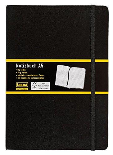 Idena 209281 Notizbuch DIN A5, 192 Seiten, 80 g/m², schwarz, kariert (2er Pack)