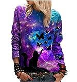 Otoño e Invierno 3D Starry Sky Cat Butterfly Print Casual Camiseta de Manga Larga para Mujer
