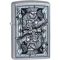Zippo Skull Lighters (Satin Chrome King of Spades)