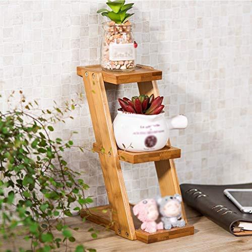 TR Jardinière d'intérieur , Panier à Fleurs Petit Salon de Cuisine en Bois Massif avec Balcon à 3 Niveaux, Mode Charmant Jardinière de Maison