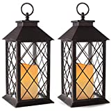 Bright Zeal 2-Pack 14' Vintage Candle Lantern with LED Flickering Candle (Distressed Bronze, 6hr Timer) - Outdoor Hanging Candle Lantern Battery Powered - Tabletop Lantern Decorative - Home Lanterns