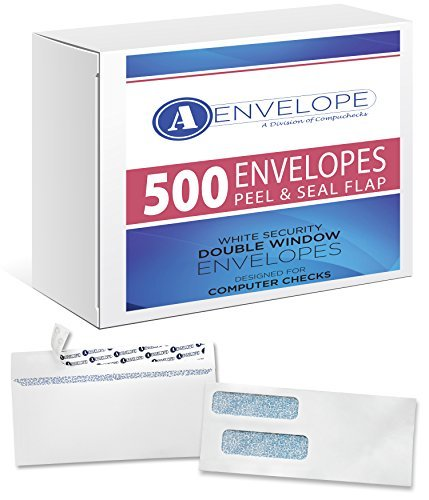 500 Double window security envelope Peel & Seal compatible with quickbooks checks