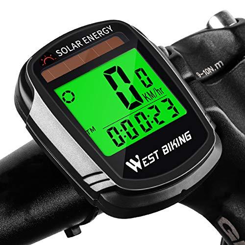 LuTuo Fahrradcomputer Kabellos mit Sonnenenergie Fahrradtacho, Wasserdicht Kilometerzähler Fahrrad Tachometer, 22 Multifunktions Drahtlos Radcomputer mit LCD Hintergrundbeleuchtung