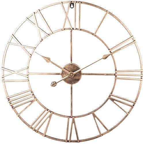 HYLX Reloj de paredRelojes de Pared Grandes, Reloj de jardín Interior al Aire Libre, Sala de Estar de Hierro, Reloj silencioso Que no Hace tictac para jardín/Patio/Patio