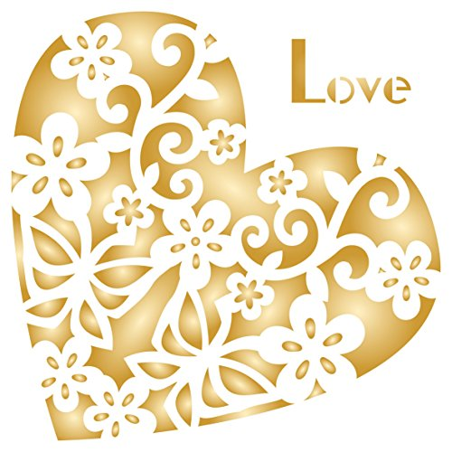 Herzform Decor Schablone–wiederverwendbar Groß, Valentinstag Love allover Muster Wand Schablone–Vorlage, auf Papier Projekte Scrapbook Tagebuch Wände Böden Stoff Möbel Glas Holz etc, L