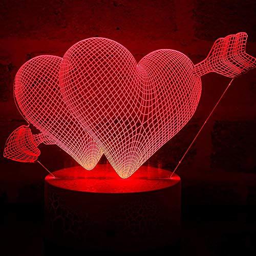 Lámpara 3D Love Cupido, luz romántica de ilusión de amor, luz de noche, luz LED de corazón, luz de sueño, para San Valentín, esposa, novio, novia, control remoto - 7_colors-no_control remoto