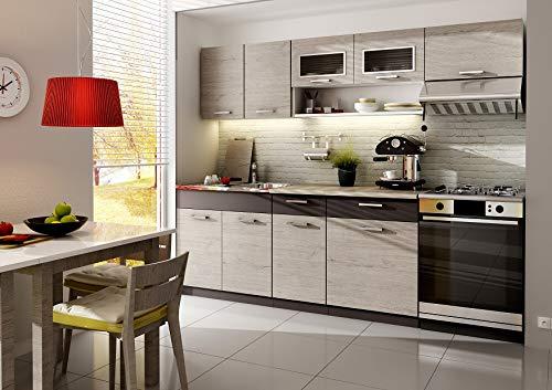 Muebles de Cocina Completa, 240 cms, Color Madera y Latte, Modulos cocinas ref-18B