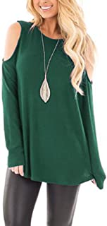 FEISI22❀Women's Long Sleeve Cold Shoulder Tops for Women Knot Twisted Front Casual Tunic Tops Comfy Off Shoulder Tops