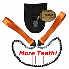 ✔3x MORE TEETH = 3x FASTER IN CUTTING - A razor sharp cutting blade on every single link, Best pocket chainsaw will cut through wood with ease, reduce the amount of time and effort that you need in cutting down a branch ✔PORTABLE SURVIVAL CHAINSAW –F...