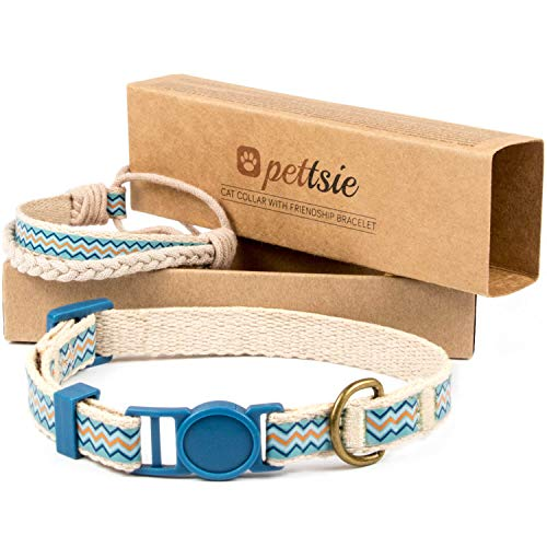 Pettsie Cat Collar Breakaway Safety and Friendship Bracelet for You, Durable 100% Cotton for Extra Safety, Comfortable and Soft, D-Ring for Accessories, Gift Box Included (7.5'-11.5' Neck, Blue)