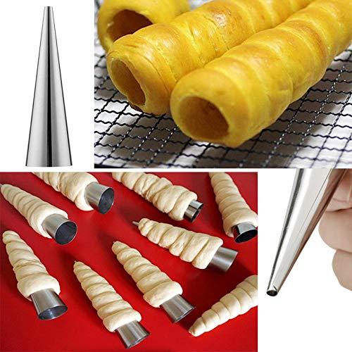 SJYM 1 stks / 3 stks / 5 stks conische buis kegel roll mallen rvs spiraal croissants mallen gebak crème hoorn cake brood schimmel, 5 stks