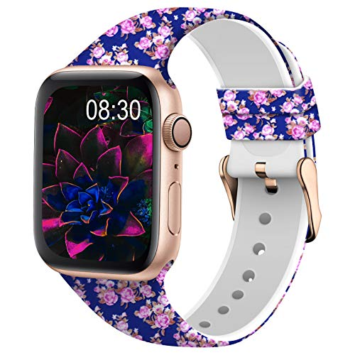 TSAAGAN Silicone Pattern Printed Band Compatible for Apple Watch Band 38mm 42mm 40mm 44mm, Floral Soft Sport Replacement Strap Wristband for iWatch Series 6/5/4/3/2/1 (Blue Rose, 42mm/44mm)