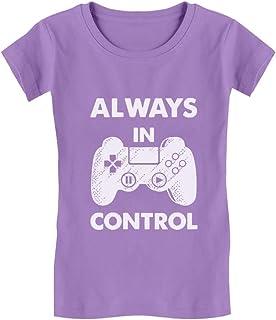 Tstars - Always in Control Novelty Gamer Video Game Girls' Fitted Kids T-Shirt