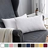 MUDILY Pack of 2 Christmas Soft Striped Corduroy Soft Decor Decorative Oblong Throw Pillow Covers Set Cushion Cases Pillowcases for Sofa Bedroom Car, Pure White 12 x 20 inch 30 x 50 cm