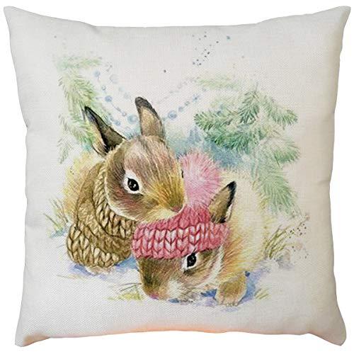 Amhomely® Ostern Flachs Square Sofa Kissenbezug (ohne Kissen), Kaninchen Muster-9 Möglichkeiten, einseitige Bedruckung, unsichtbarer Reißverschluss, 45 x 45 cm