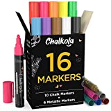 Liquid Chalk Markers & Metallic Colors by Chalkola - Pack of 16 Chalk...