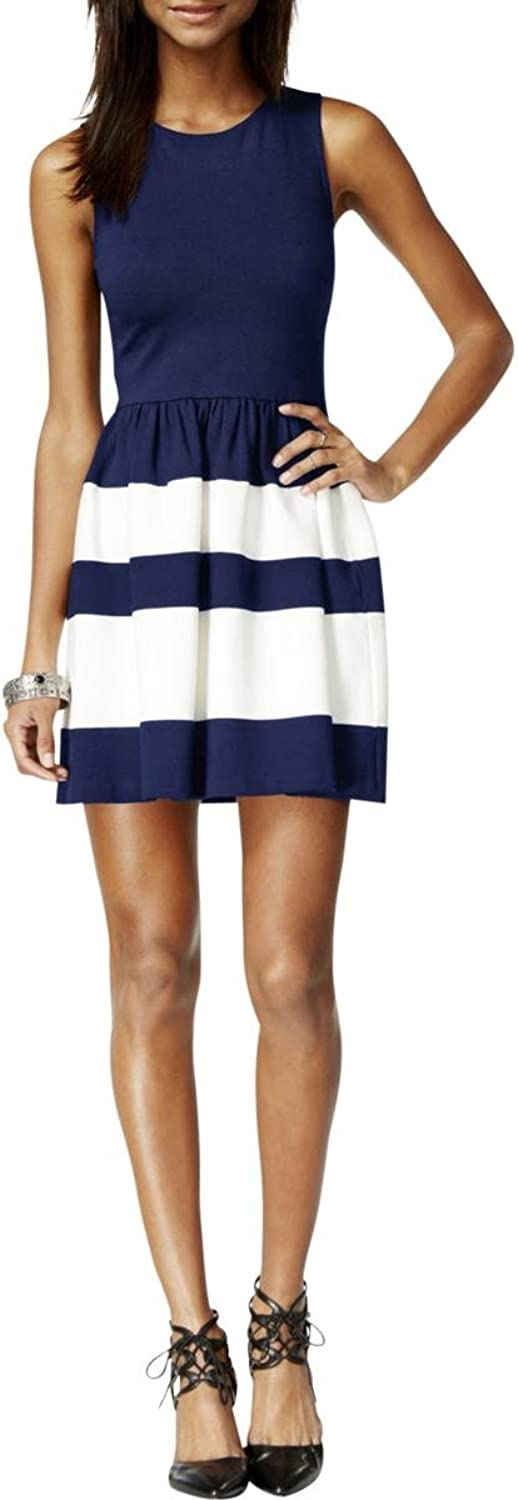Bar III Womens Striped Ponte Casual Dress Navy S